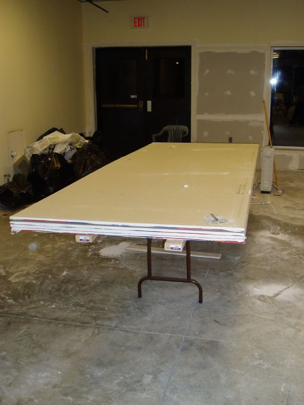 drywall sheets on top of working table