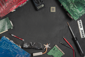 different circuit boards and some tools
