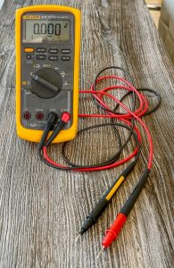 probes attached to the voltmeter